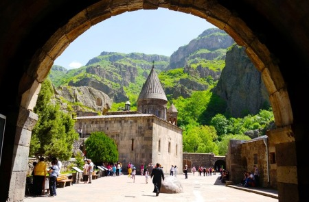 The stunning Geghard Monastery in Kotayk, Armenia. This Armenian Monastery is among the most beautiful in the region.