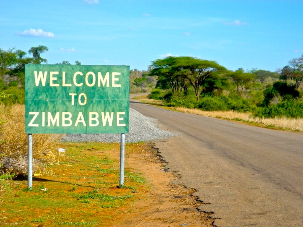 Border sign to Zimbabwe on the way to the magnificent Victoria Falls